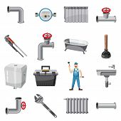 Plumber Items Icons Set. Cartoon Illustration Of 16 Plumber Items Icons For Web poster