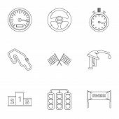 Machine Race Icons Set. Outline Illustration Of 9 Machine Race Icons For Web poster