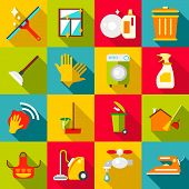 Cleaning Items Icons Set. Flat Illustration Of 16 Cleaning Items Icons For Web poster