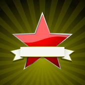 stock photo of communist symbol  - Red star with ribbon - JPG