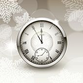 Christmas card with antique clock