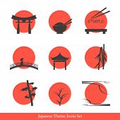 Japanese theme icons set - elements for your logo design