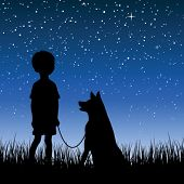 Little boy watching night starry sky