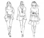 teenage girls fashion, vector