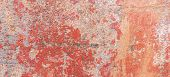 Old Weathered Painted Wall Background Texture. Red Dirty Peeled Plaster Wall With Falling Off Flakes poster