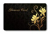 credit card / business card background design of standard size with a hand drawn flower and a place for text message and contacts
