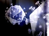 Digital illustration of  digital background in hiv virus