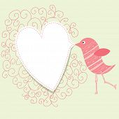 Bird with speech bubble heart. Vintage valentine concept.