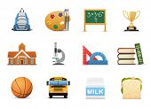stock photo of school building  - School And Education Icon Set - JPG
