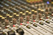 Close Up Of  Digital Sound Audio Mixer And Amplifier Equipment Or Music Mixer Equalizer Console. Sou poster