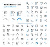 Feedback Survey Outline Icons Collection Set Vector Illustration With Three Color Modifications. Sym poster