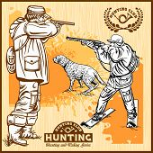 Hunters With Dogs - Retro Clipart Illustration - Vector Set poster