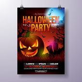 Halloween Party Flyer Vector Illustration With Scary Faced Pumpkin On Mysterious Moon Background. Ho poster