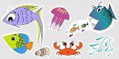 A Set Of Stickers Of Marine Inhabitants. Baby Illustrations Of Fish, Crab, Jellyfish, Seaweed, Seash poster