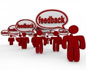 The word Feedback in many speech bubbles spoken by several people sharing their opinions and voicing