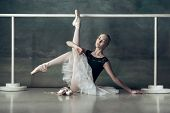 The Classic Ballet Dancer In White Tutu Posing At Ballet Barre On Studio Background. Young Teen Befo poster