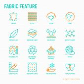 Fabric Feature Thin Line Icons Set: Leather, Textile, Cotton, Wool, Waterproof, Acrylic, Silk, Eco-f poster