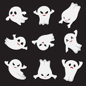 Halloween Ghost. Ghostly Cute Cartoon Characters. Devil Monsters For Frightened Child. Vector Collec poster