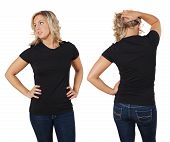 Female Posing With Blank Black Shirt