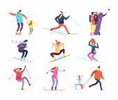 Winter Sports People. Adult And Children In Winter Clothes Snowboarding And Skiing. Vector Cartoon C poster