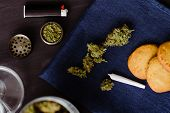 Baking With The Addition Of Cbd. Sweets With Weed. Cookies With Marijuana. Sweets With Cannabis. Can poster