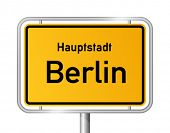 picture of sign board  - City limit sign BERLIN against white background  - JPG
