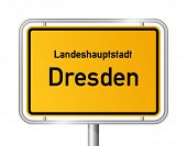 City limit sign DRESDEN against white background - federal state of Saxony / Sachsen - vector illustration