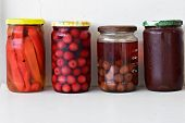 Variety Of Preserved Food In Glass Jars - Jam, Marmalade, Cherries, Red Pepper Preserving Vegetables poster
