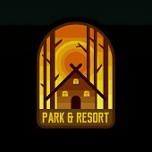 Park And Resort Badge Design For Camping, Hiking And Expedition. poster