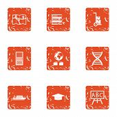 Expedition Training Icons Set. Grunge Set Of 9 Expedition Training Icons For Web Isolated On White B poster