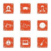 Hippy Band Icons Set. Grunge Set Of 9 Hippy Band Icons For Web Isolated On White Background poster