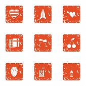 Lovers Evening Icons Set. Grunge Set Of 9 Lovers Evening Icons For Web Isolated On White Background poster