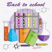 Back To School.vector Illustration In Flat Style. Chemical Reagents With Test Tubes, Chemical Formul poster