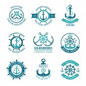 Marine Logo. Nautical Vector Emblem With Ship Anchors And Steering Wheels. Cruise Boat Sailor Monoch poster
