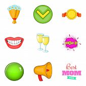 Achieve Icons Set. Cartoon Set Of 9 Achieve Icons For Web Isolated On White Background poster