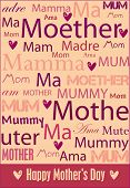Vector cheerful Mother's Day poster with words for mother in a variety of languages.