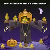 Poster In Style Of Holiday All Evil Halloween. Scarecrow With A Head Of Pumpkin At Midnight By The L poster
