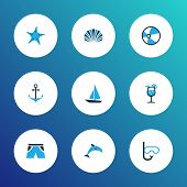 Summer Icons Colored Set With Lemonade, Mammal, Smelting And Other Swimming Mask Elements. Isolated  poster