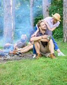 Find Companion To Travel And Hike. Company Friends Couples Or Families Enjoy Relaxing Together Fores poster