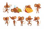 Set Of Cartoon Mouse Character In Different Actions. Running With Sweep-net, Sleeping, Eating Cheese poster