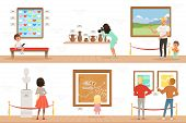 Cartoon Characters People Visitors In Art Museum. Paintings, Butterflies Collection And Sculptures I poster