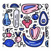 Fruits And Veggies Handdrawn Set. Vector Illustration For Signboards, Menu And Web Banner Designs. O poster