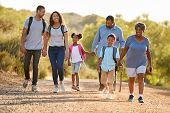Multi Generation Family Wearing Backpacks Hiking In Countryside Together poster