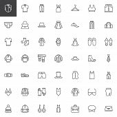 Clothes Outline Icons Set. Linear Style Symbols Collection, Line Signs Pack. Vector Graphics. Set In poster