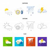 Isolated Object Of Weather And Weather Icon. Set Of Weather And Application Stock Symbol For Web. poster
