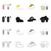 Vector Design Of Weather And Weather Logo. Collection Of Weather And Application Vector Icon For Sto poster