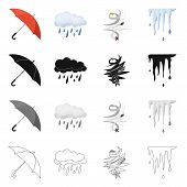 Vector Illustration Of Weather And Weather Icon. Collection Of Weather And Application Stock Symbol  poster