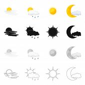 Isolated Object Of Weather And Weather Icon. Collection Of Weather And Application Vector Icon For S poster