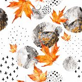 Modern Minimal Seamless Pattern Of Watercolor Floral Elements And Geometric Shapes. Watercolor Autum poster