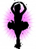 Silhouette of a little girl doing ballet
